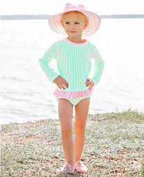 Girls Mint Seersucker Long Sleeve One Piece Rash Guard