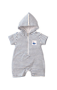 Kissy Kissy Terry Romper - Blue Stripe
