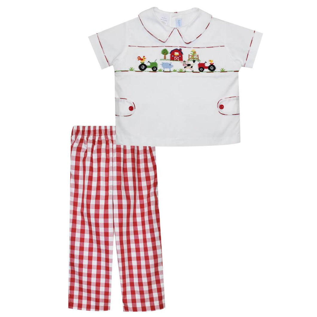 Farm Smocked Big Red Check - Pant Set