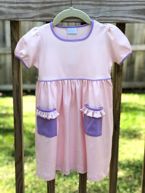 Pink w/ Purple Trim Short Sleeve Popover Dress