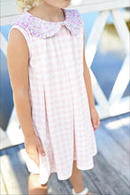PRE-SALE // Penny Pleat Dress - Pink Gingham Dress and Floral Collar