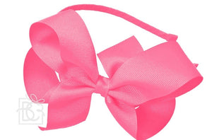 "Ribbon Wrapped HeadBand with Classic 5.5"" Grosgrain Bow (Multiple Colors)"