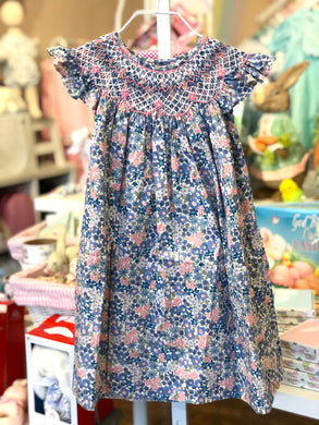 Liz Blue & Pink Smocked Dress