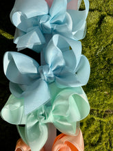 Grosgrain & Organza Layered Bow with Knot - Powder Mist