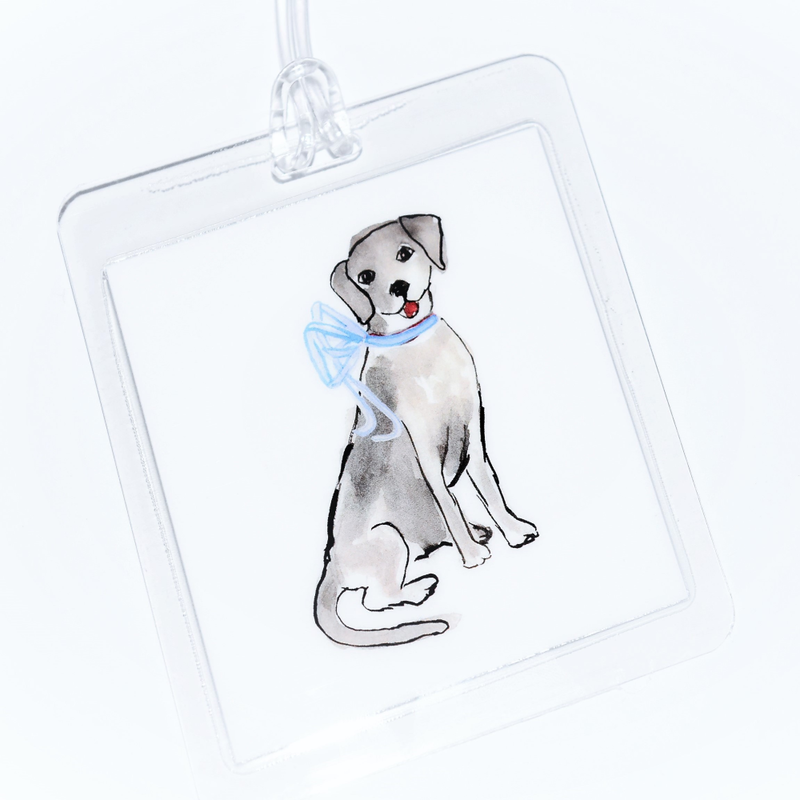 Dog with Blue Bow Bagtag