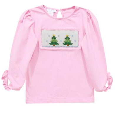 Christmas Tree Smocked Pink Knit Top