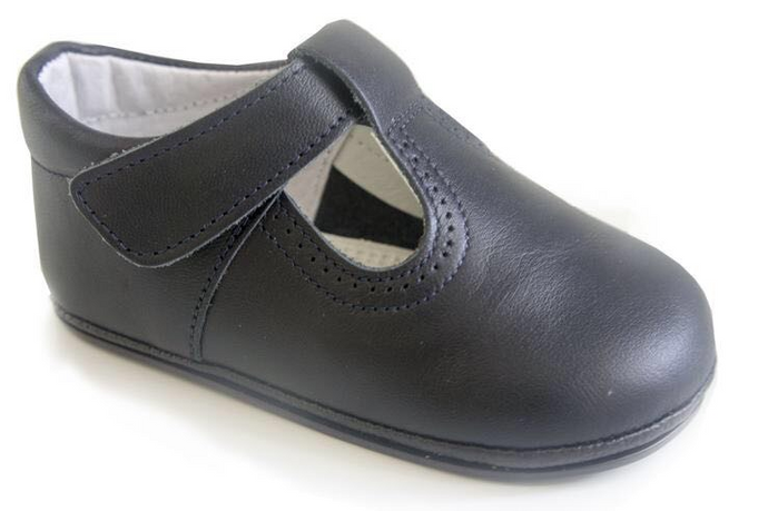 Patucos Leather T-Strap Shoes - Navy
