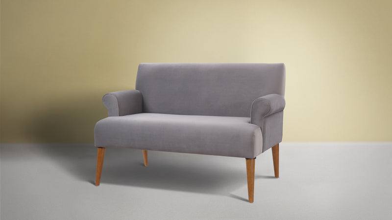 Callie Roll Arm Settee, Opal Grey