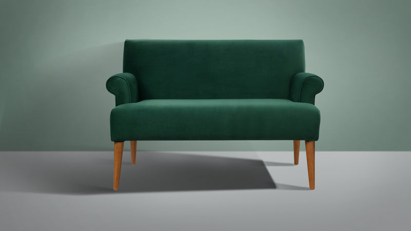 Callie Roll Arm Settee, Evergreen