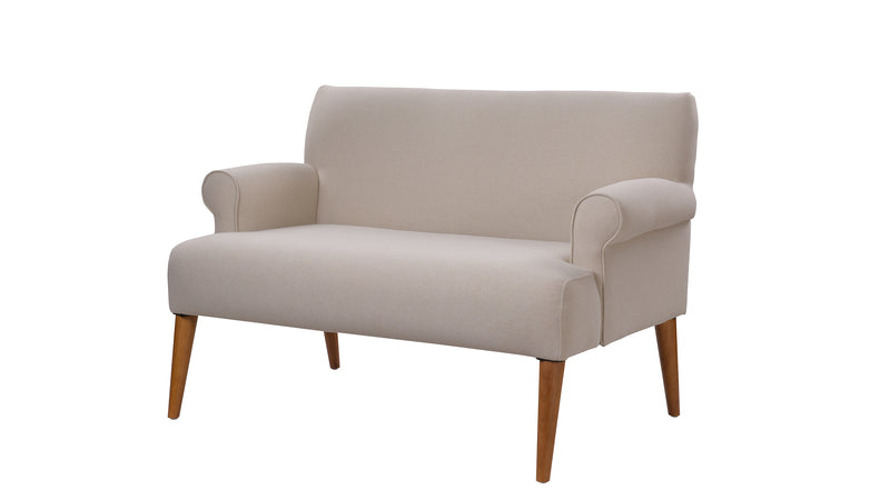 Callie Roll Arm Settee, Sky Neutral
