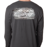 Sandbar Sunday Unisex Premium Fitted Long-Sleeve Crew Tee in Heavy Metal/Sebastian Inlet