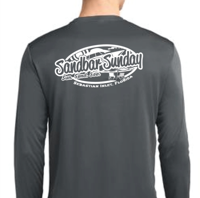 Sandbar Sunday (S.I.) Sport-Tek Mens Long Sleeve Competitor in Iron Gray/Sebastian Inlet