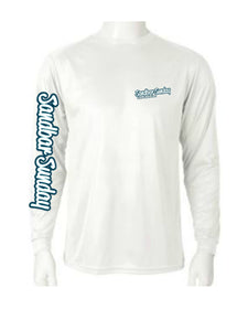 Long Sleeve Performace Tee with Royal Blue Logo, Sebastian Inlet