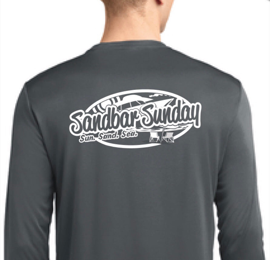 Sandbar Sunday Sport-Tek Mens Long Sleeve Competitor in Iron Gray