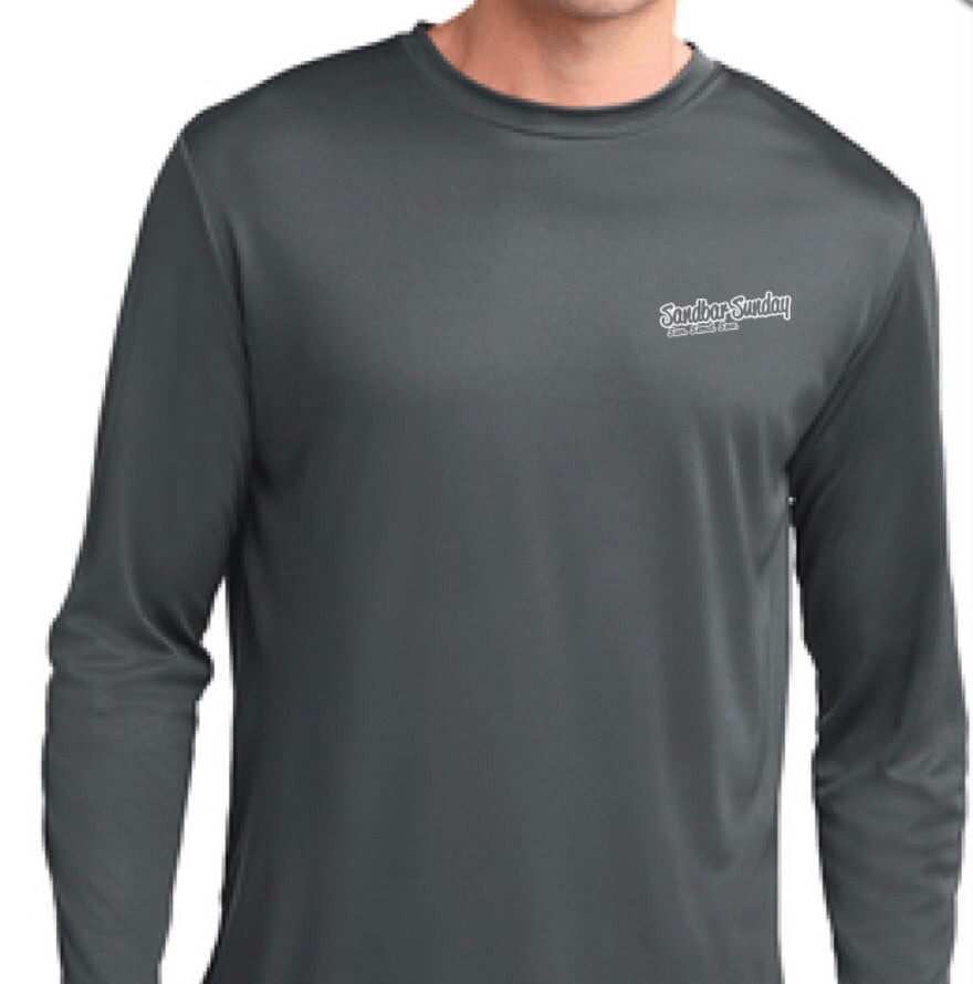 Sandbar Sunday (FPI) Sport-Tek Mens Long Sleeve Competitor in Iron Gray