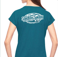 Sandbar Sunday (F.P.I) Triblend V-Neck Tee in Galapagos Blue/Ft.Pierce