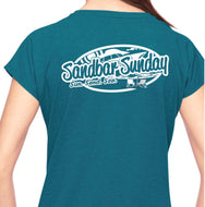 Sandbar Sunday Triblend V-Neck Tee in Galapagos Blue