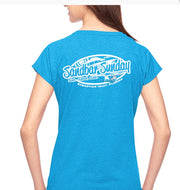 Sandbar Sunday (S.I.) Ladies Triblend V-Neck Tee in Heather Caribbean Blue/Sebastian Inlet