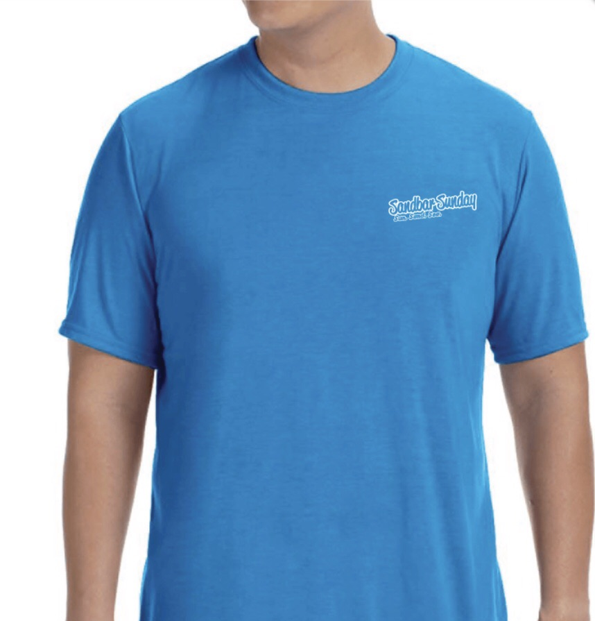 Sandbar Sunday Men's Short Sleeve Performance Tee in Sapphire/Sebastian Inlet