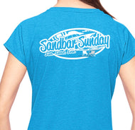 Sandbar Sunday Ladies Triblend V-Neck Tee in Heather Caribbean Blue