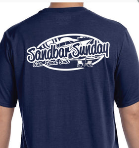 Sandbar Sunday Men's Short Sleeve Performance Tee in Navy