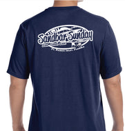 Sandbar Sunday (F.P.I.) Men's Short Sleeve Performance Tee in Navy/Ft.Pierce