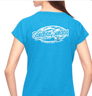 Sandbar Sunday (F.P.I) Ladies Triblend V-Neck Tee in Heather Caribbean Blue/Ft.Pierce