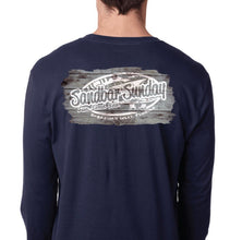 Sandbar Sunday Unisex Premium Fitted Long-Sleeve Crew Tee in Navy/Sebastian Inlet