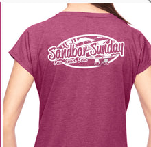 Sandbar Sunday Ladies Triblend V-Neck Tee in Heather Raspberry