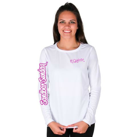 Long Sleeve Performance Shirt in White with Hot Pink with Sebastian Inlet