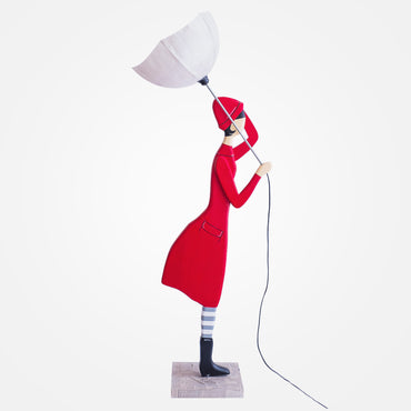 Stylish Lady Floor Lamp - Red Coat