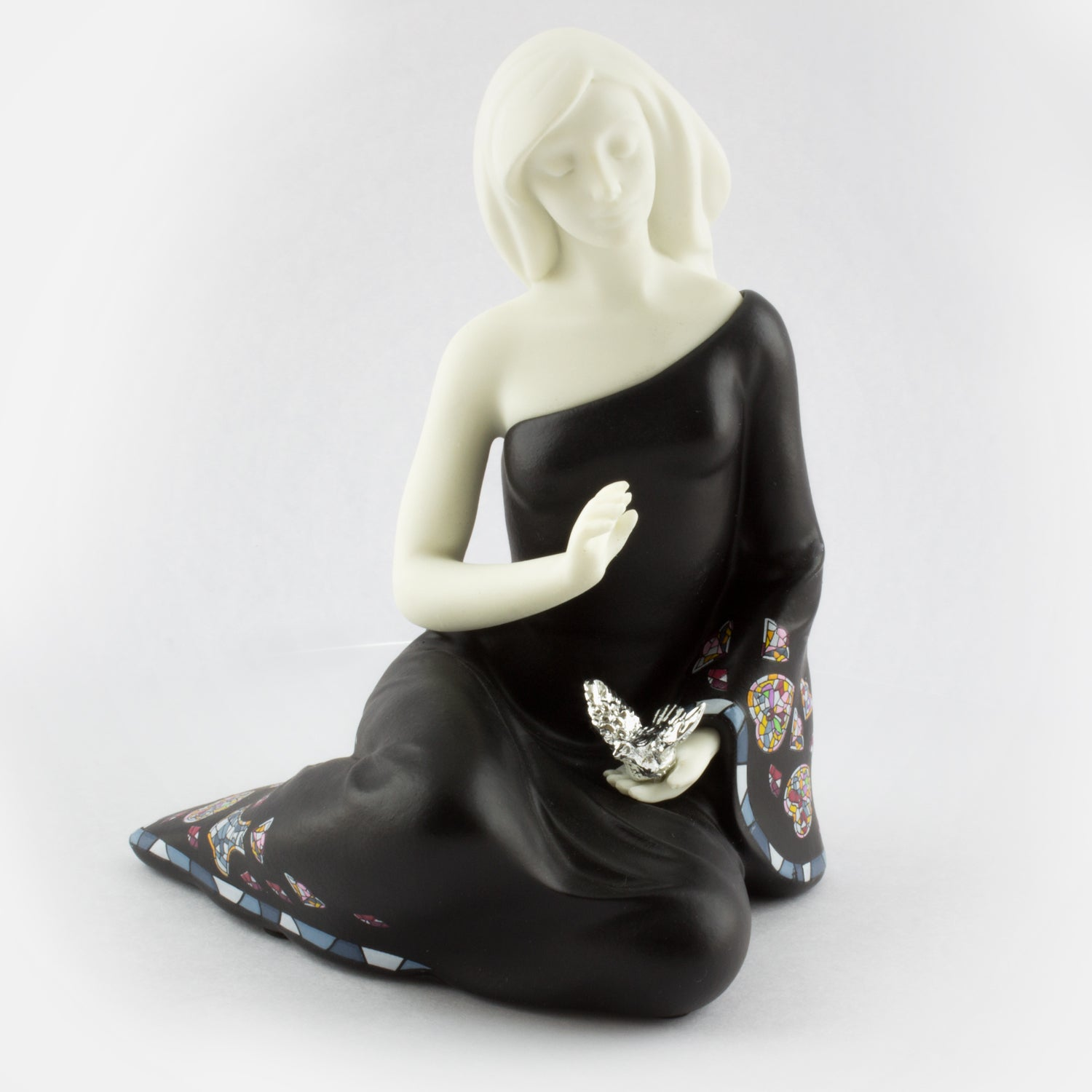 Sitting Woman with Dove 2 - Black - Nadal Sirene