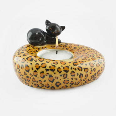 Black Sleeping Cat Tealight Holder by Goebel