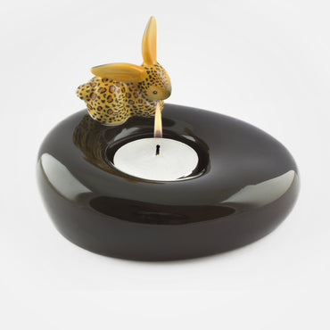 Leopard Bunny Black Tealight Holder - Goebel