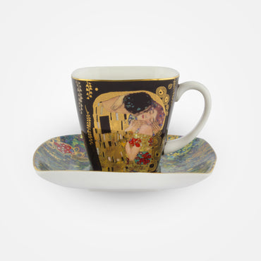 2 Coffee Cups with Saucers – 'The Kiss – Demitasse 7 cm' Gustav Klimt