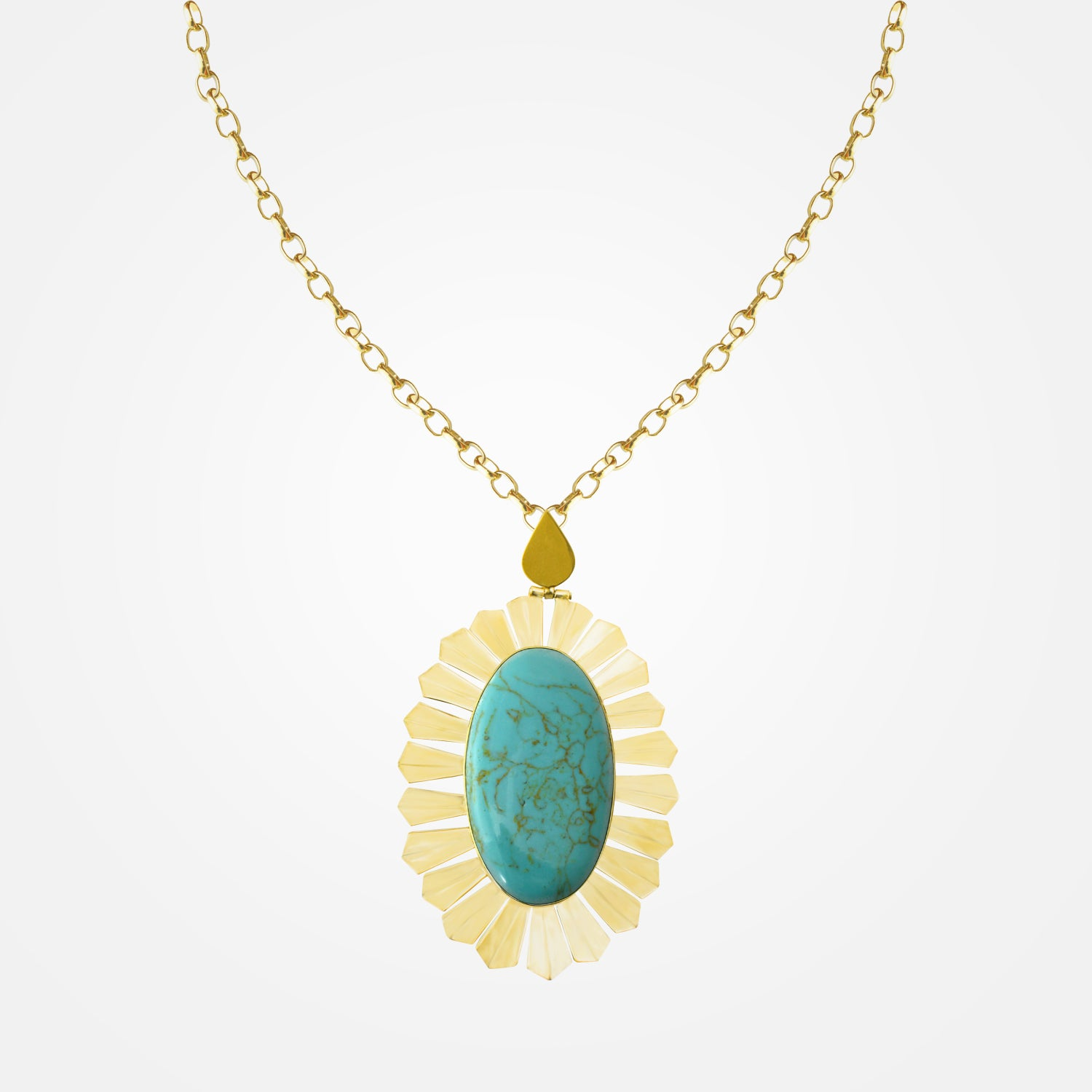 22k Gold Plated Radiant Set - Necklace with Turquoise Stones by Daniel Espinosa