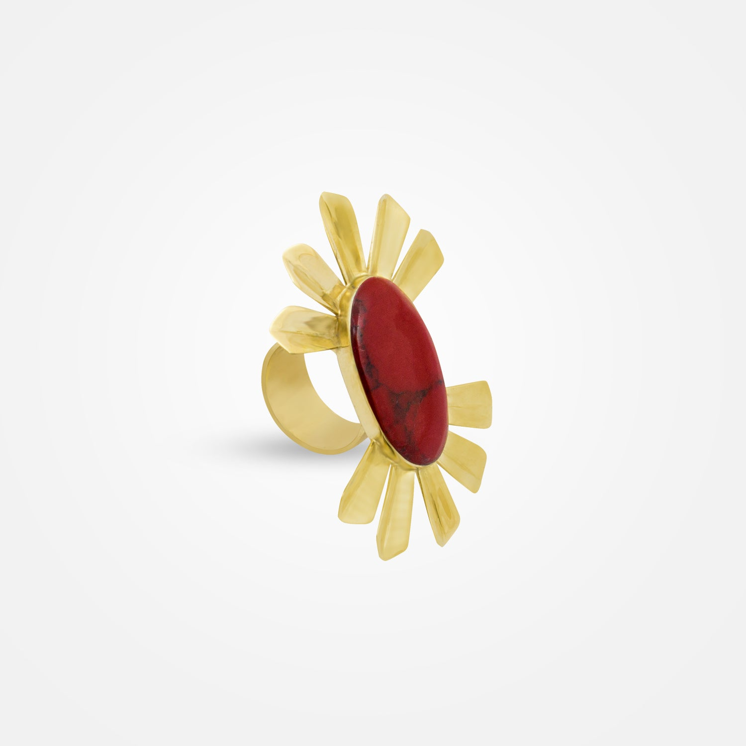 22k Gold Plated Radiant Set - Ring with Red Stones by Daniel Espinosa