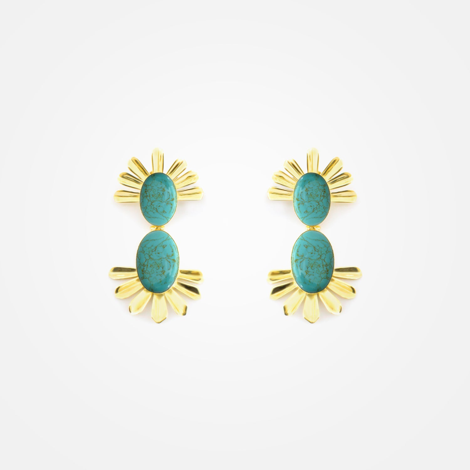 22k Gold Plated Radiant Set - Earrings with Turquoise Stones by Daniel Espinosa