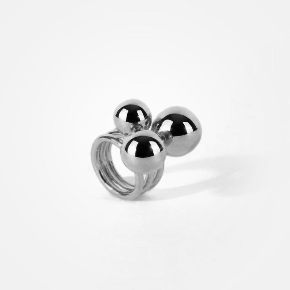 Silver Plated Cerezo Full Sphere Ring by Daniel Espinosa