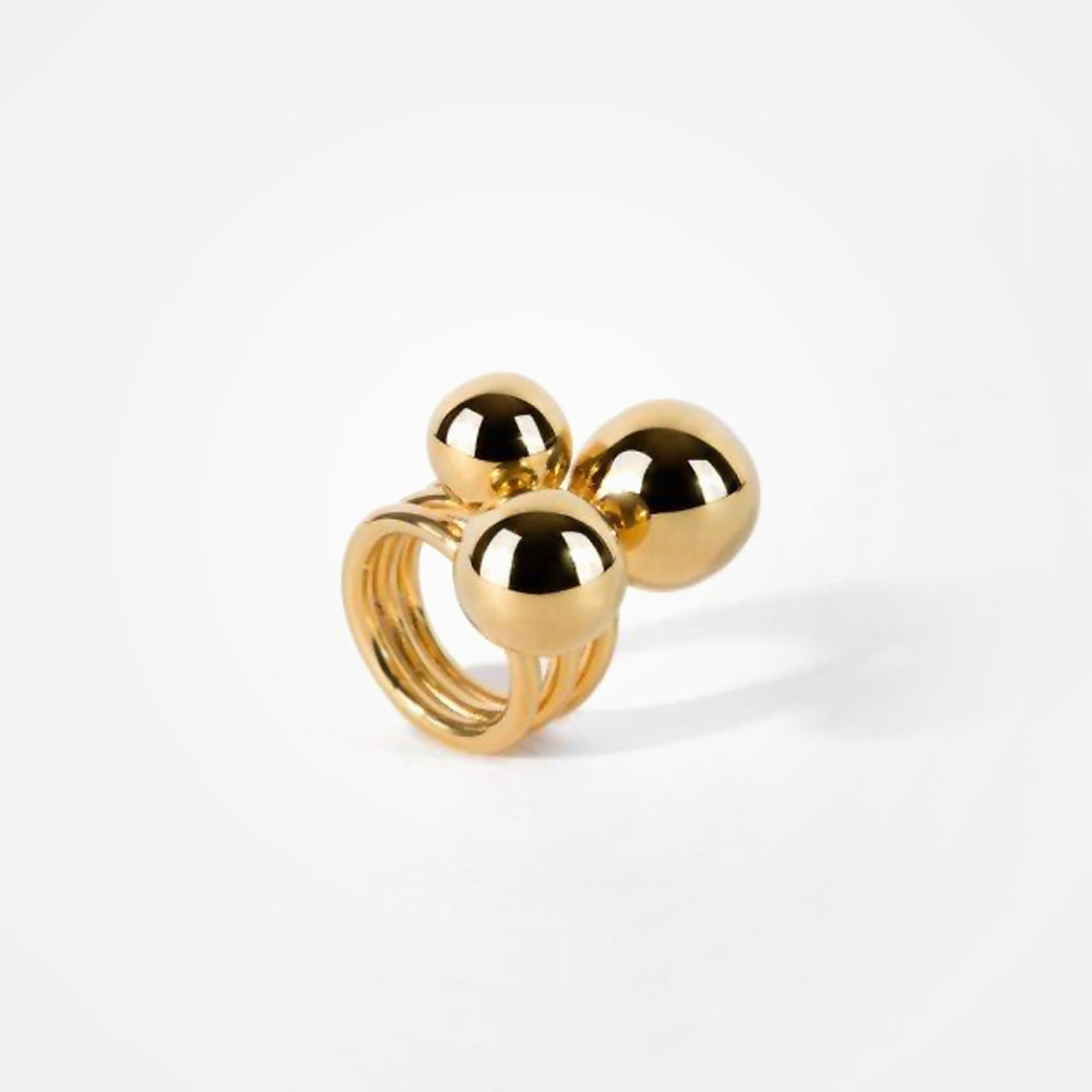 22k Gold Plated Bronze Cerezo Half Sphere Ring by Daniel Espinosa