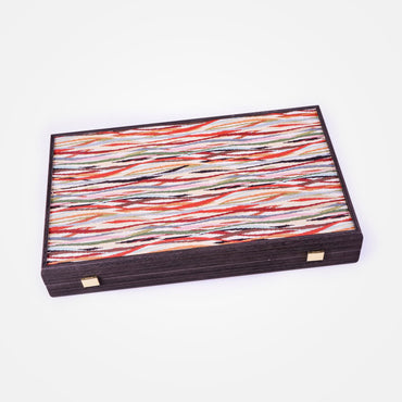 Embroidered Wavy Striped Motif Backgammon Set by Manopoulos