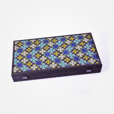 Geometric Floral Pattern Backgammon Set by Manopoulos