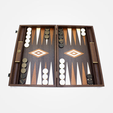 Brown Ostrich Leather in Backgammon Set By Manopoulos