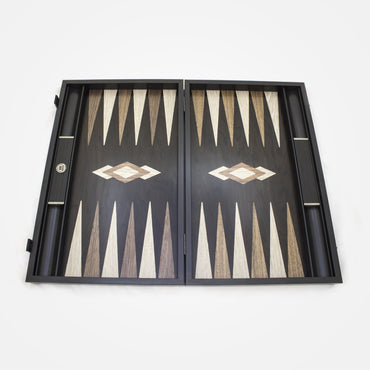 Dark Grey Crocodile Leather in Backgammon Set By Manopoulos
