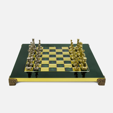 Greek Roman Period Handcrafted Metallic Chess Set by Manopoulos