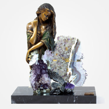 Amethyst Evenfall - Bronze Crystal Clock by Ebano