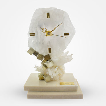 White Crystal Clock with Marble Base by Ebano