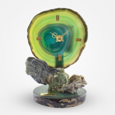 Green Agate Crystal Clock by Ebano