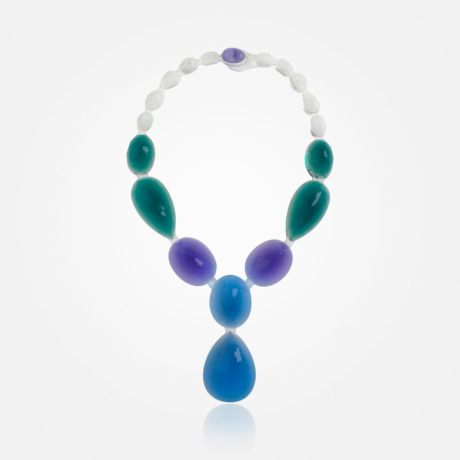 Handmade Crystalline Aqua Necklace by Corsi