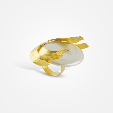 Handcrafted Golden Swirl Pearl Ring by FO.BE